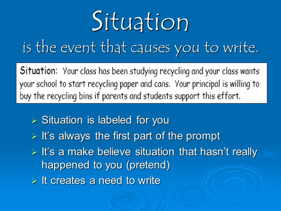 Situation is the event that causes you to write.