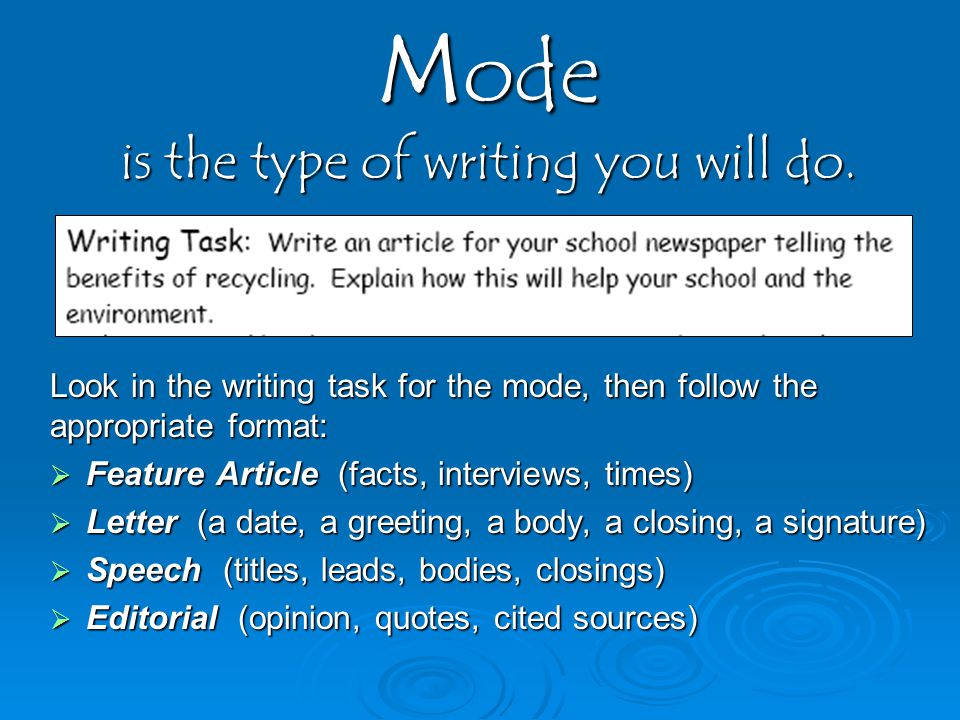 Mode is the type of writing you will do.
