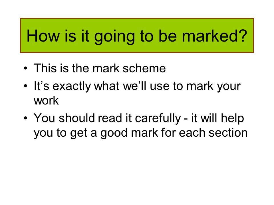 How is it going to be marked