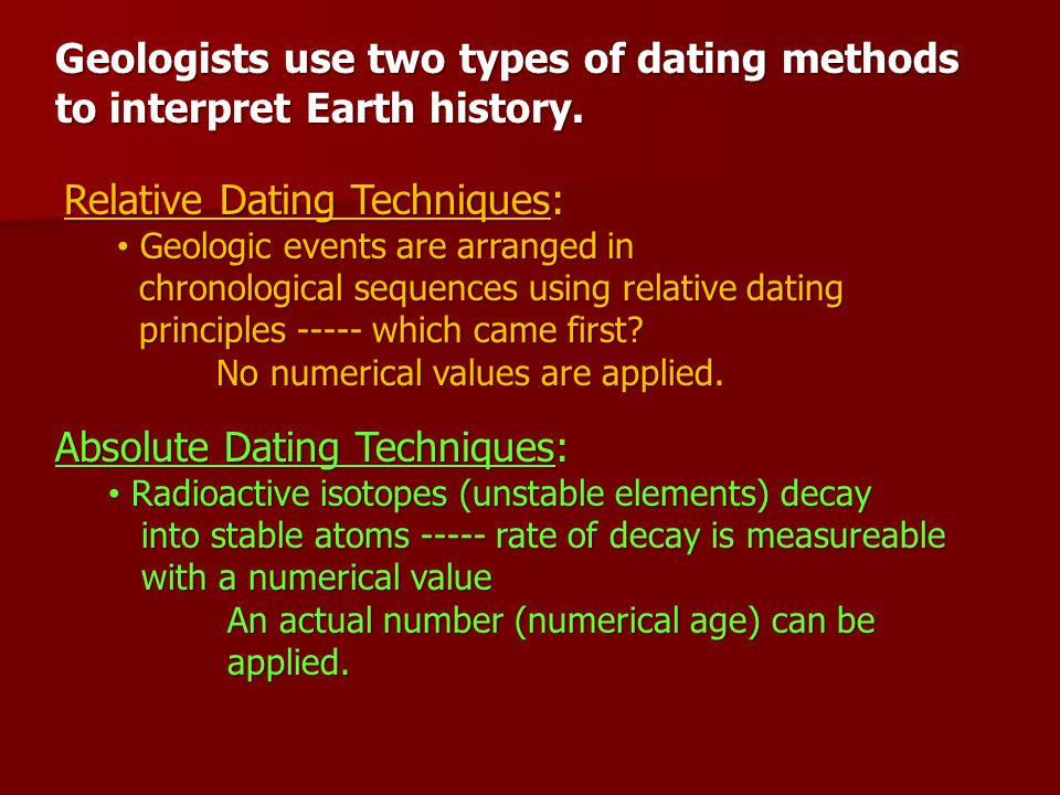 How relative and absolute dating were used to determine the subdivisions of geologic time ppt