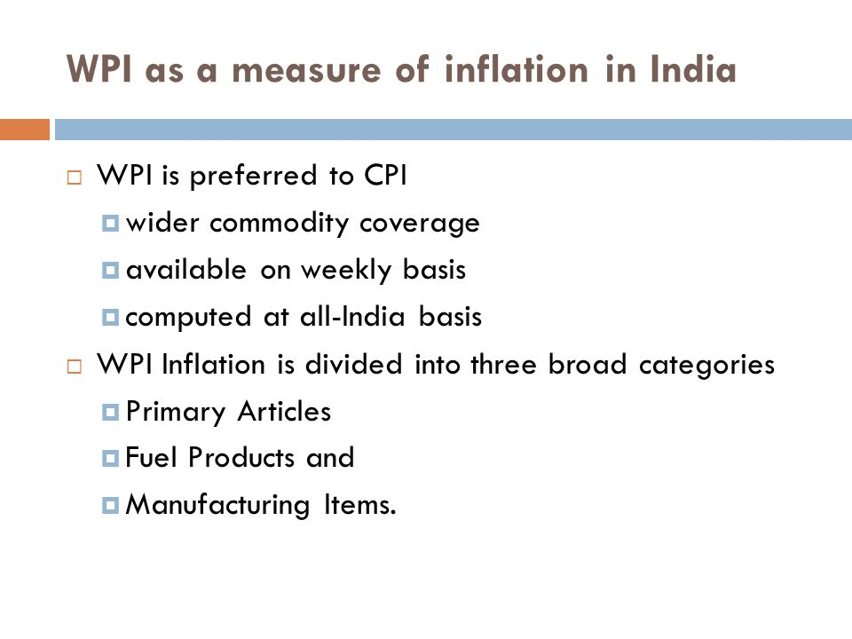 WPI as a measure of inflation in India