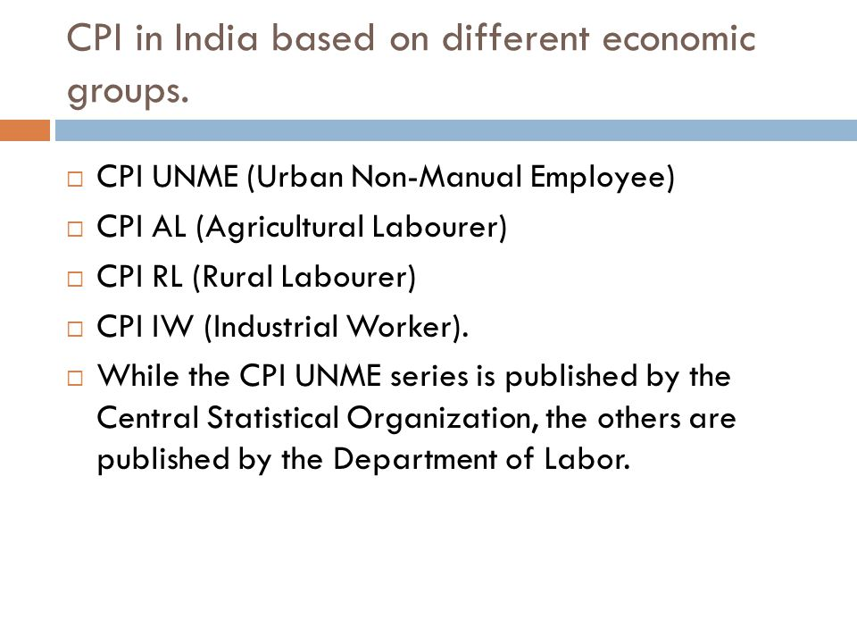 CPI in India based on different economic groups.