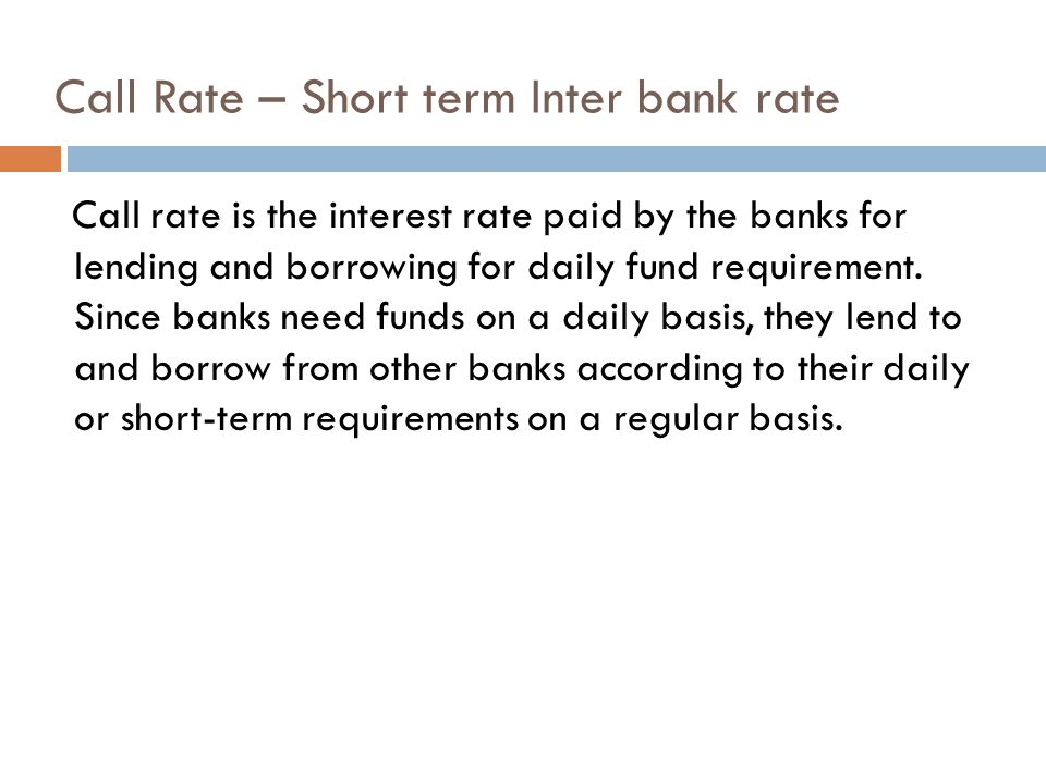 Call Rate – Short term Inter bank rate