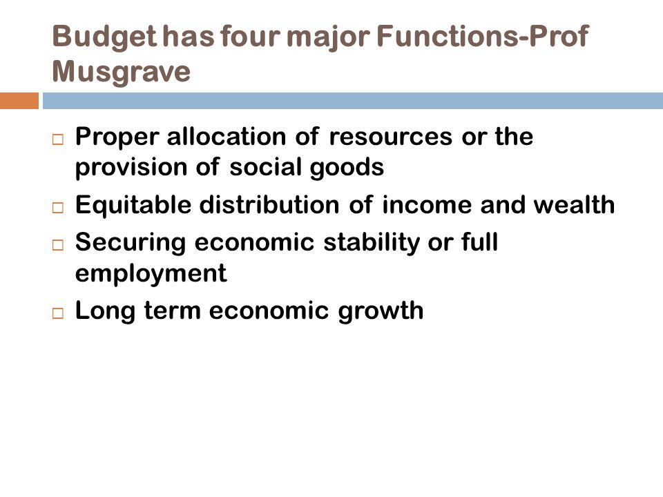 Budget has four major Functions-Prof Musgrave