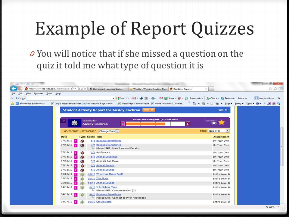 Example of Report Quizzes