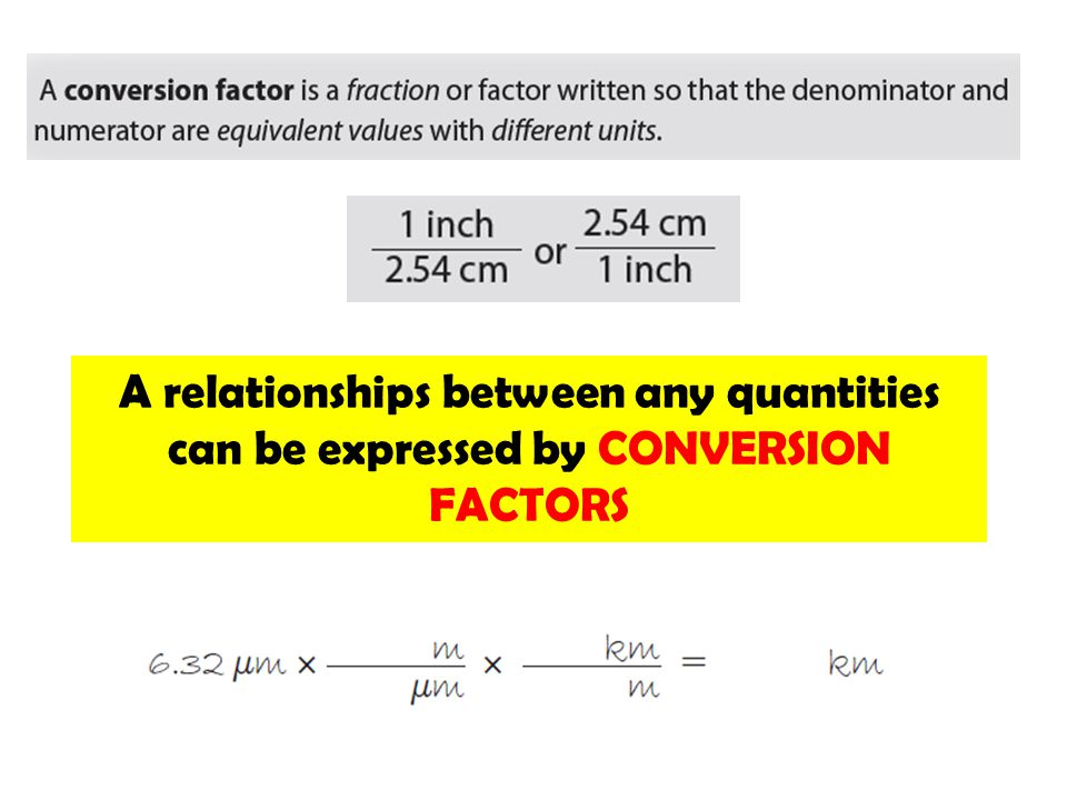 A relationships between any quantities can be expressed by CONVERSION FACTORS