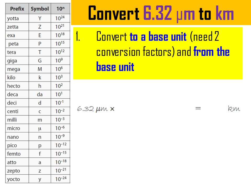 Convert 6.32 µm to km Convert to a base unit (need 2 conversion factors) and from the base unit