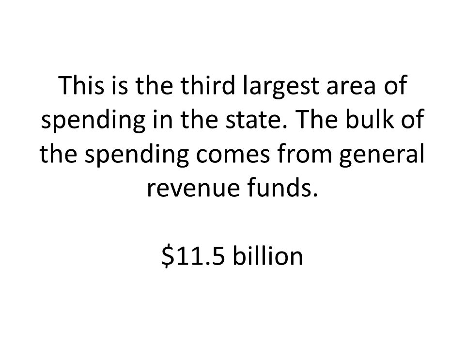 This is the third largest area of spending in the state
