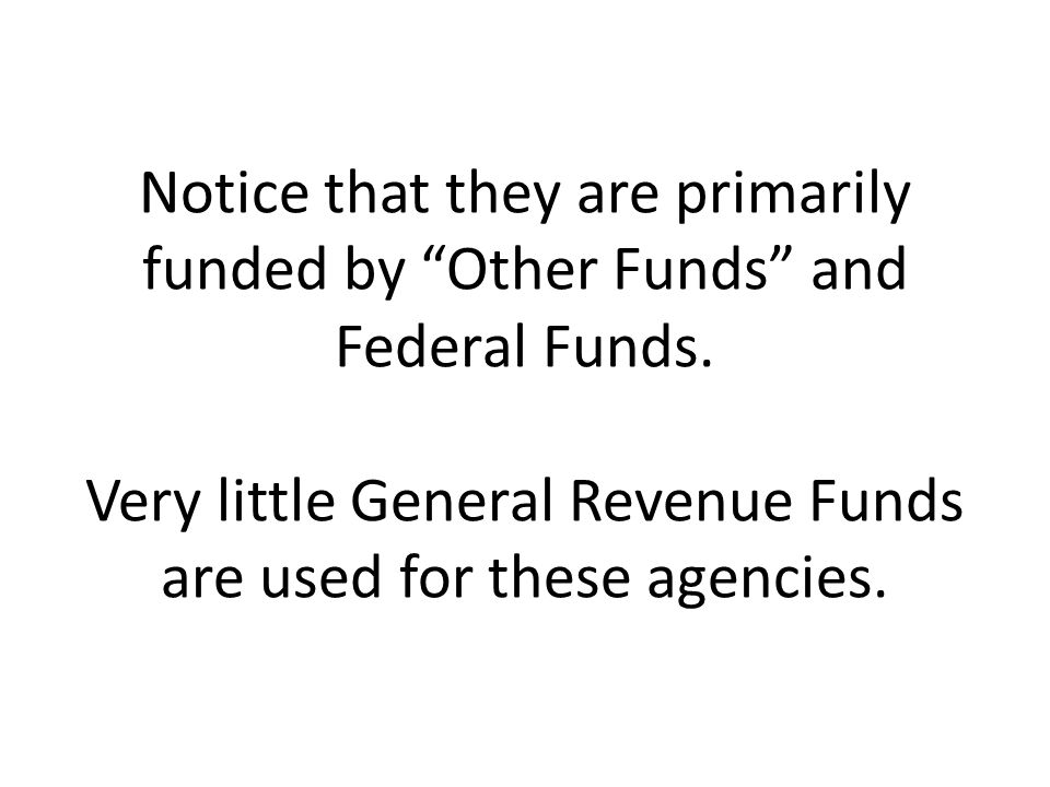 Notice that they are primarily funded by Other Funds and Federal Funds.