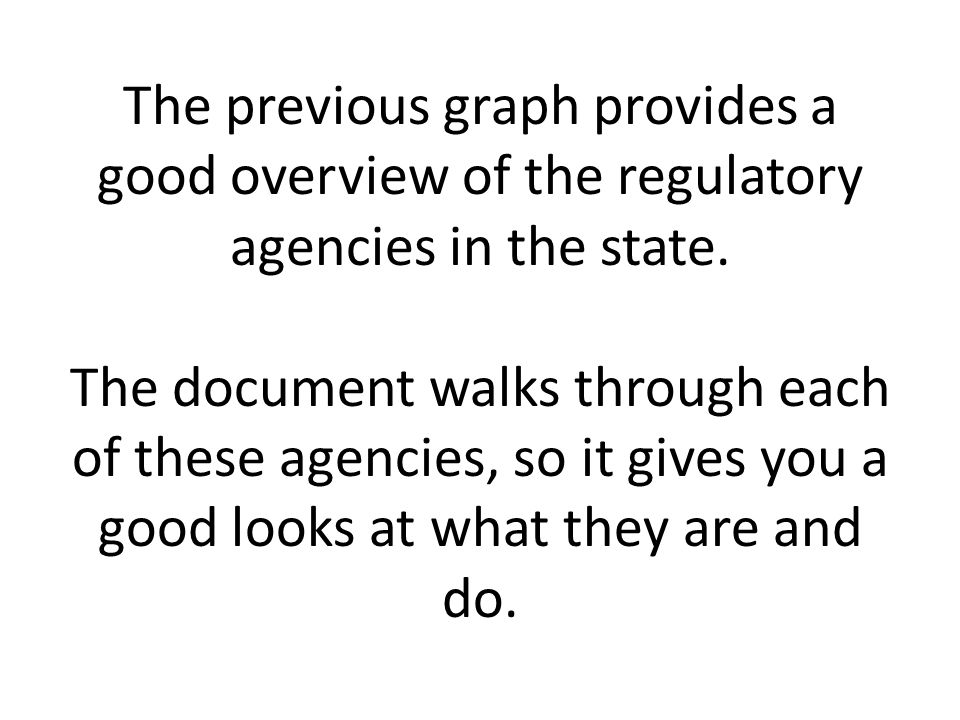 The previous graph provides a good overview of the regulatory agencies in the state.