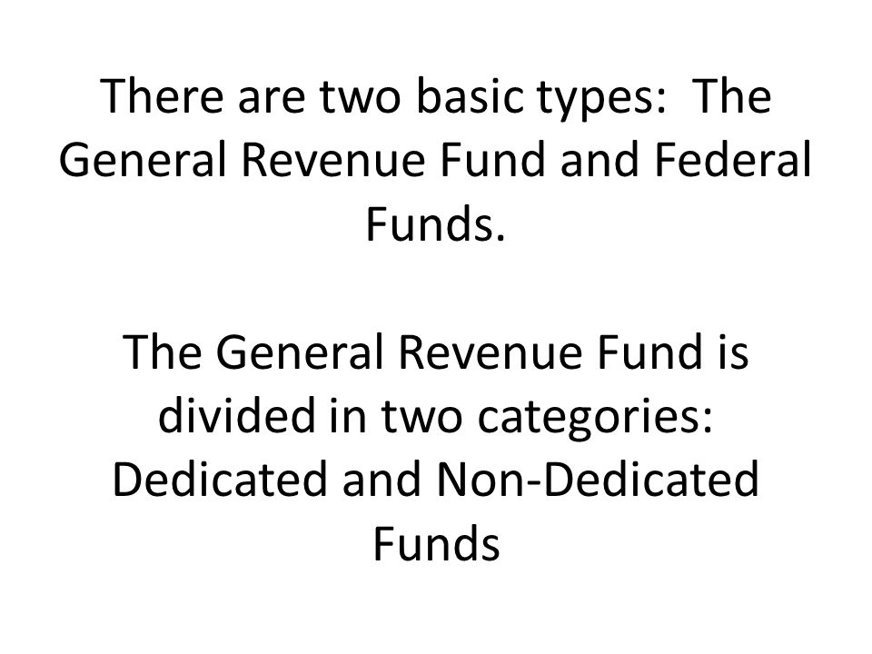 There are two basic types: The General Revenue Fund and Federal Funds
