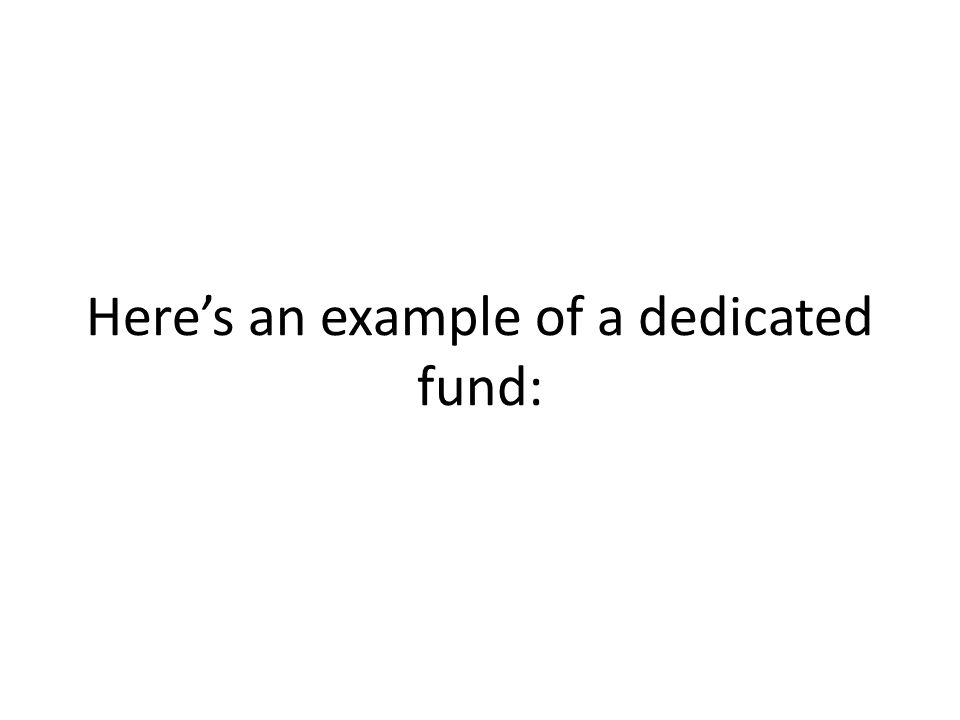 Here's an example of a dedicated fund: