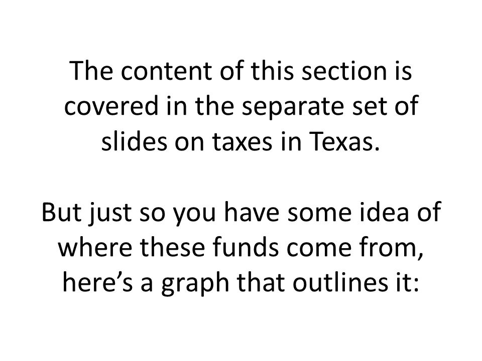 The content of this section is covered in the separate set of slides on taxes in Texas.