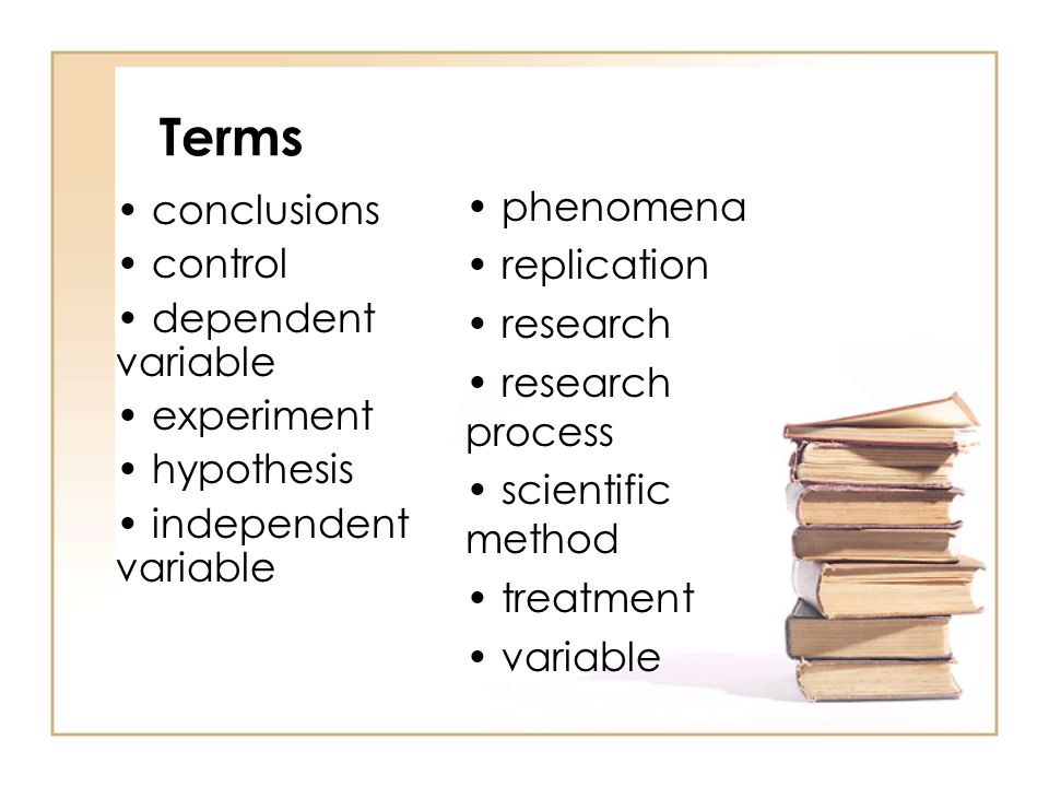 Terms phenomena conclusions replication control research