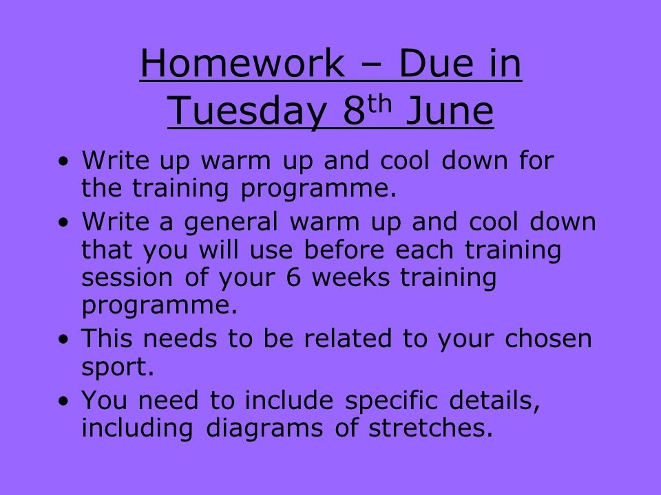 Homework – Due in Tuesday 8th June