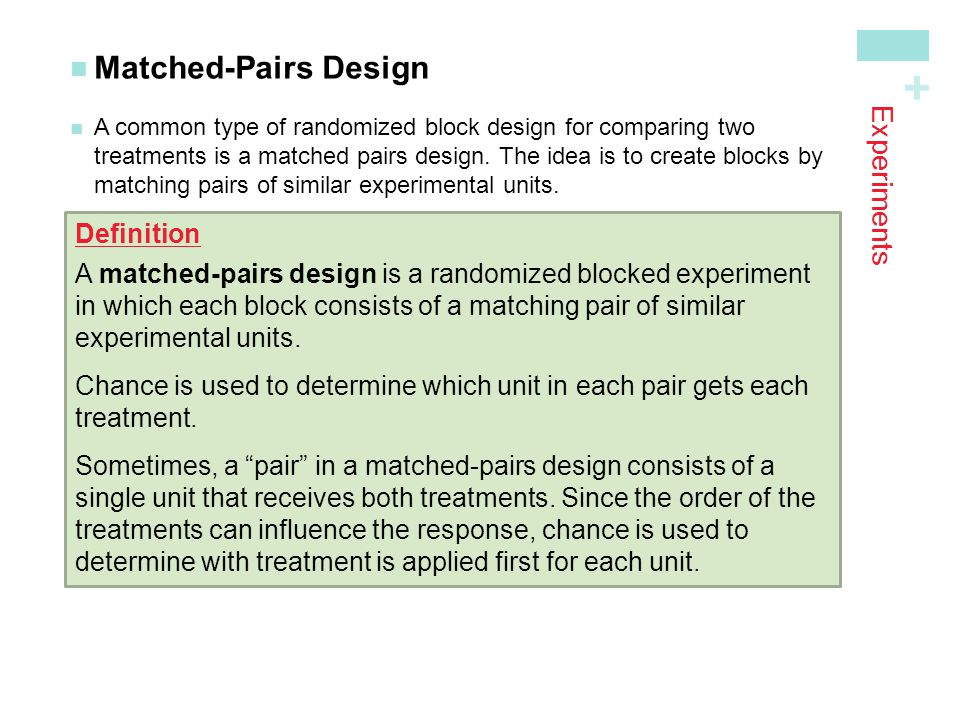Matched-Pairs Design Experiments Definition