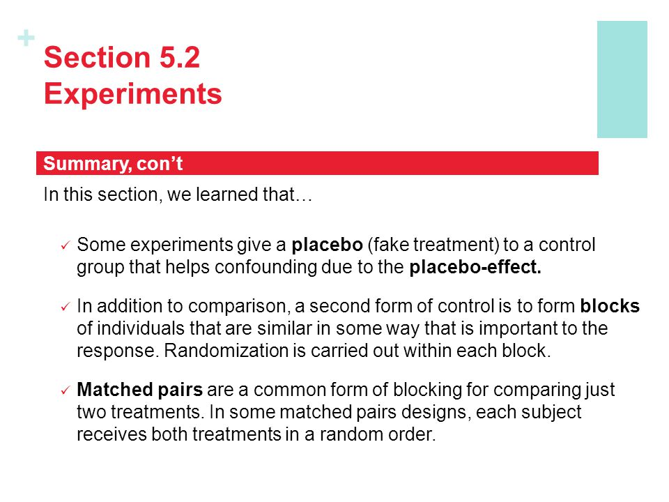 Section 5.2 Experiments Summary, con't