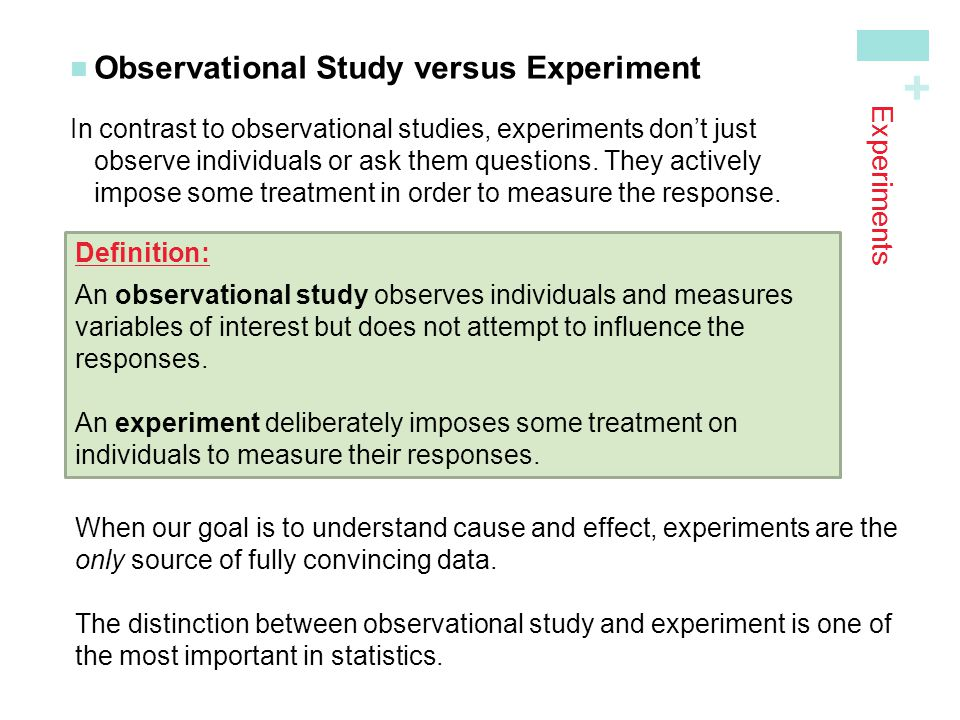 Observational Study versus Experiment