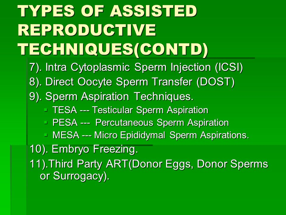 TYPES OF ASSISTED REPRODUCTIVE TECHNIQUES(CONTD)
