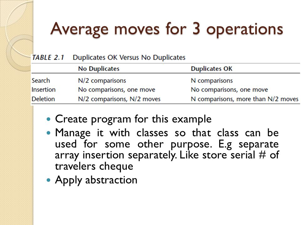 Average moves for 3 operations