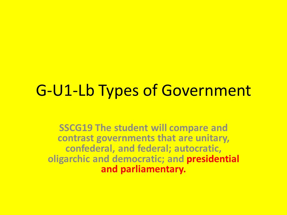G-U1-Lb Types of Government