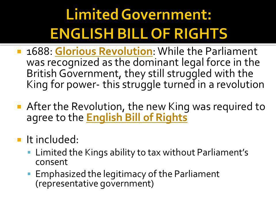 Limited Government: ENGLISH BILL OF RIGHTS