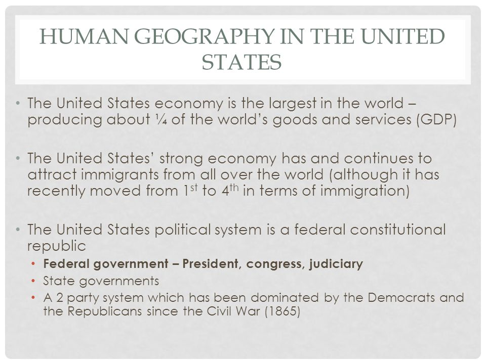 Human geography In the united States