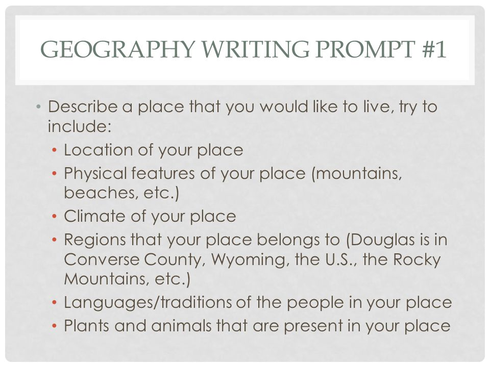 Geography Writing Prompt #1