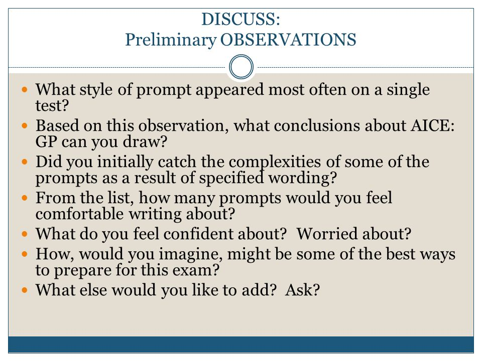 writing the aice general paper an overview  ppt download  discuss preliminary observations