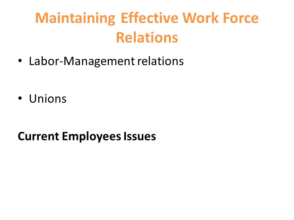 Maintaining Effective Work Force Relations