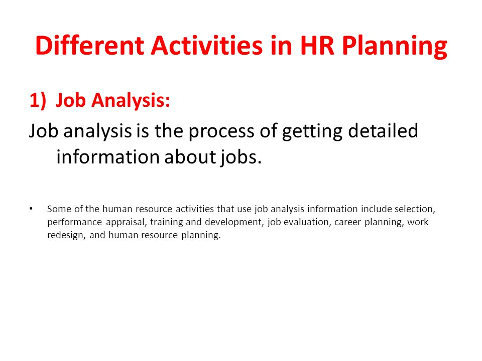 Different Activities in HR Planning
