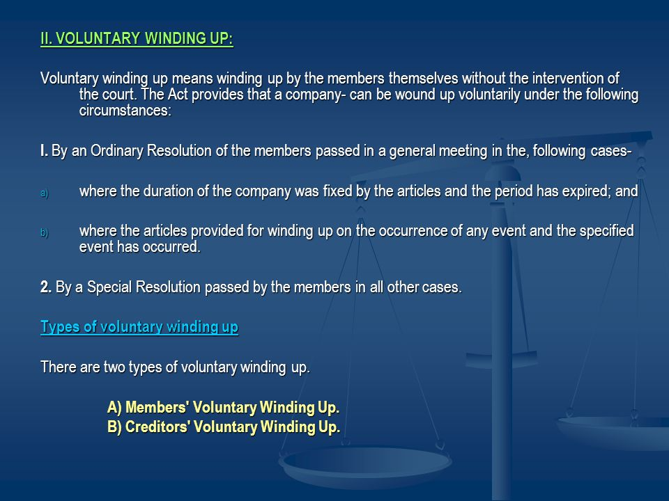 II. VOLUNTARY WINDING UP: