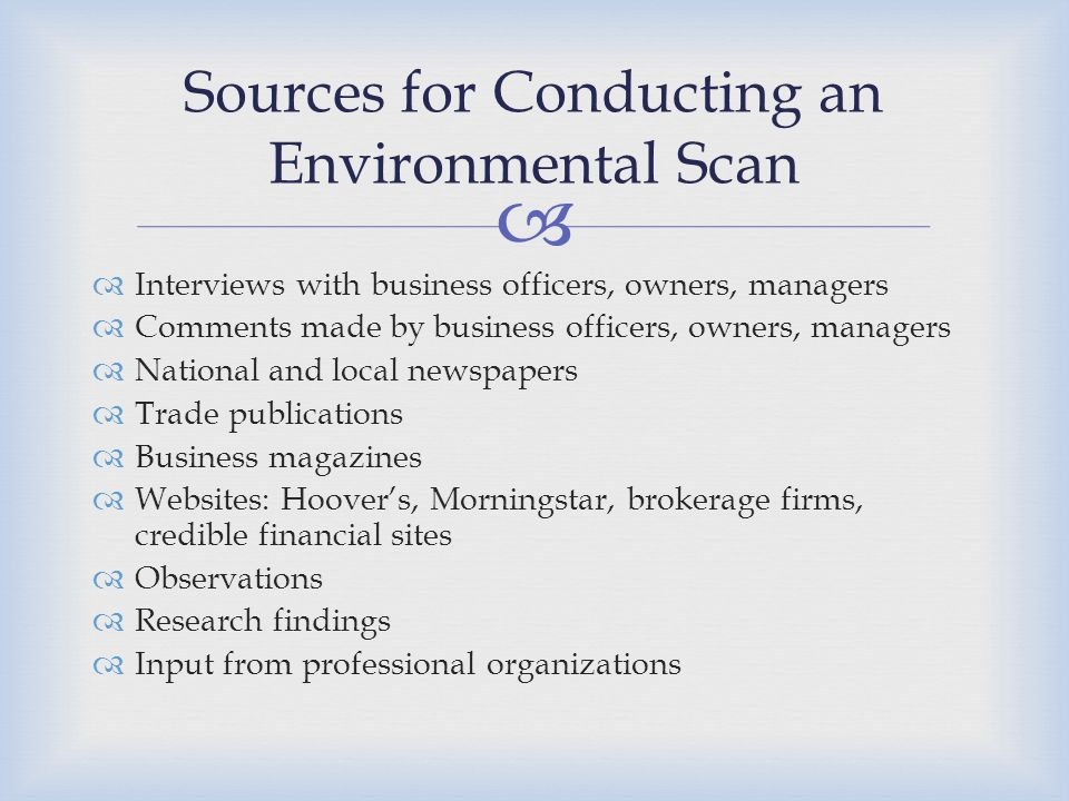Sources for Conducting an Environmental Scan