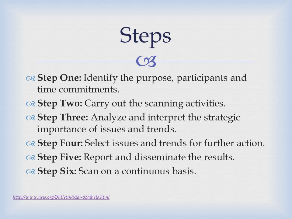 Steps Step One: Identify the purpose, participants and time commitments. Step Two: Carry out the scanning activities.