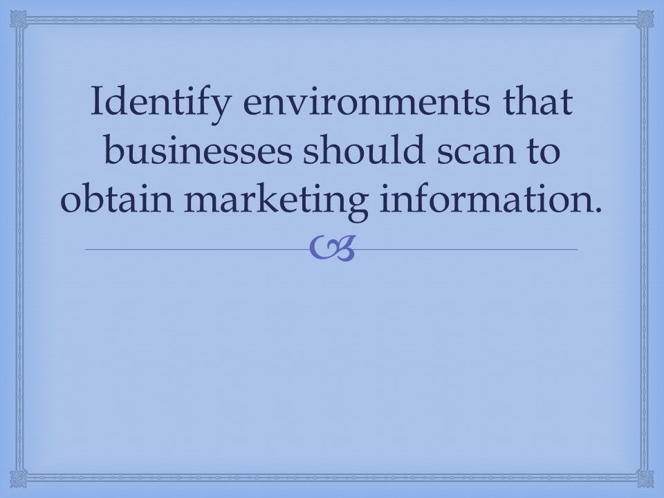 Identify environments that businesses should scan to obtain marketing information.