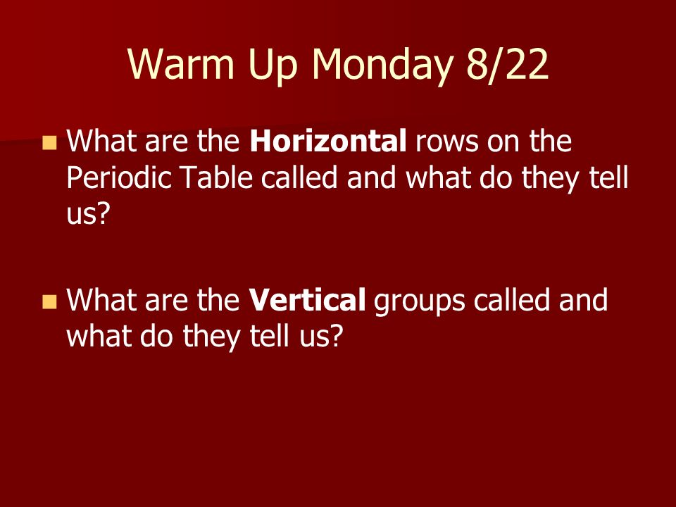 Warm Up Monday 8/22 What are the Horizontal rows on the Periodic Table called and what do they tell us
