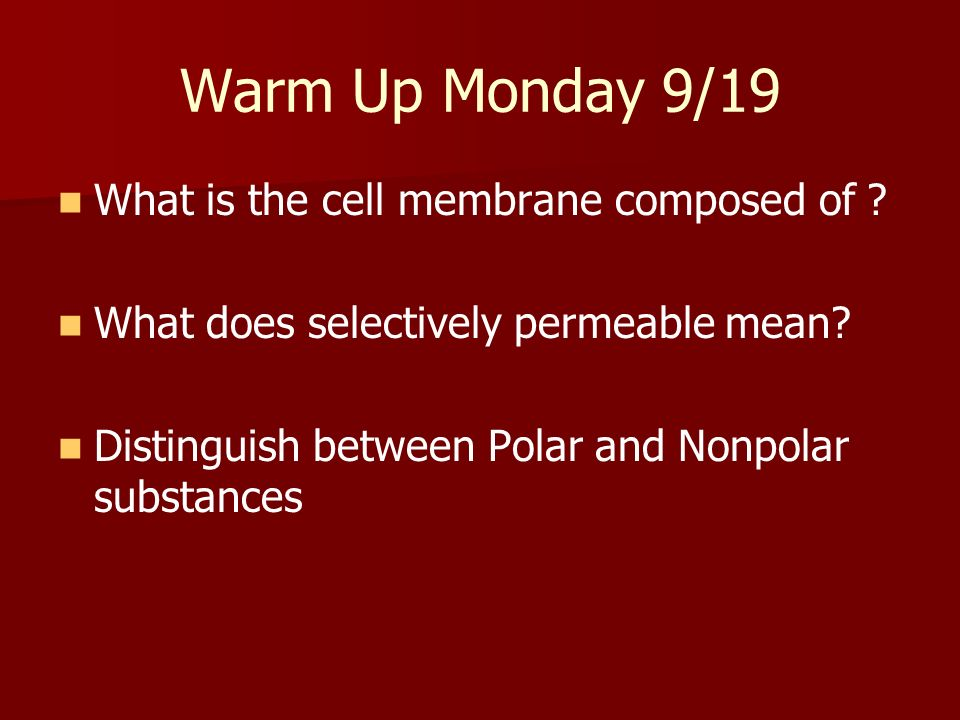 Warm Up Monday 9/19 What is the cell membrane composed of