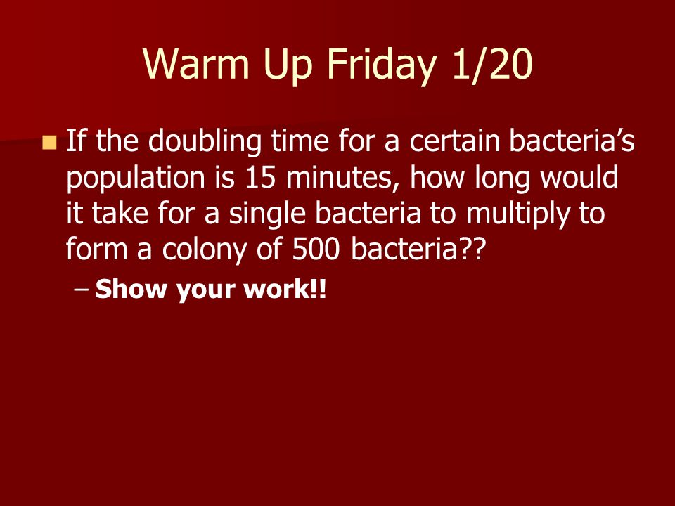 Warm Up Friday 1/20