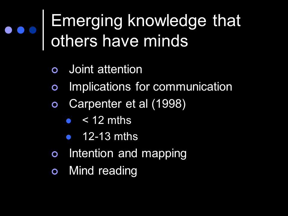 Emerging knowledge that others have minds