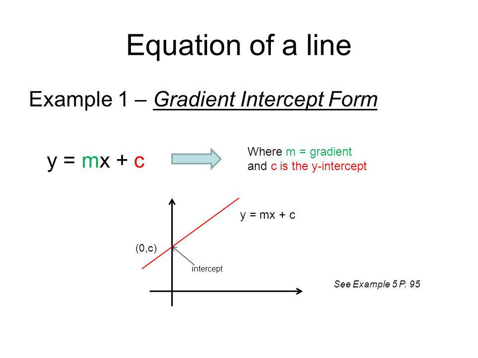Equation of a line Example 1 – Gradient Intercept Form y = mx + c