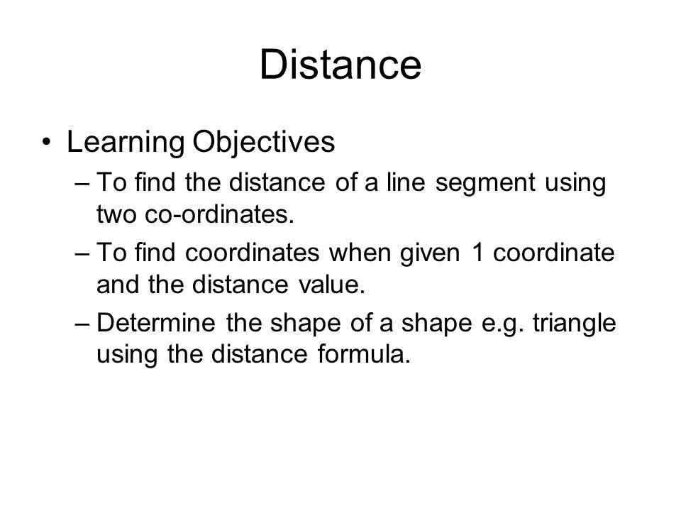 Distance Learning Objectives