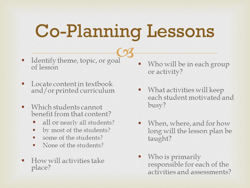Co-Planning Lessons Who will be in each group or activity