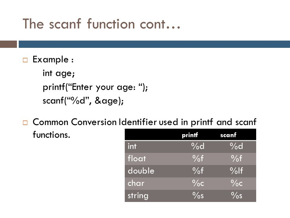 The scanf function cont…