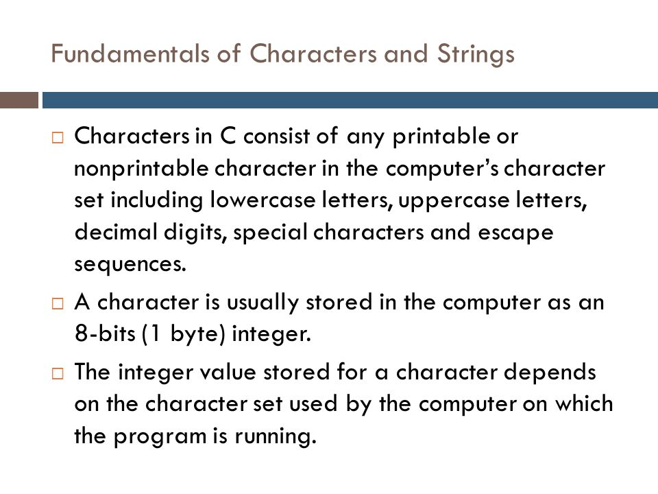 Lecture 9: Character and String - ppt video online download