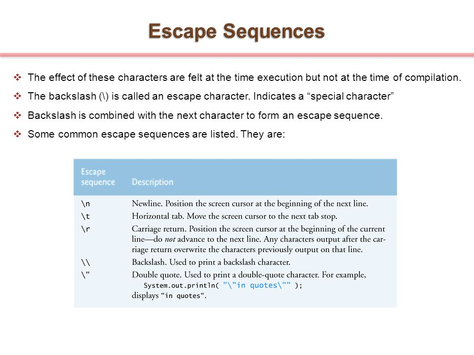 Escape Sequences The effect of these characters are felt at the time execution but not at the time of compilation.