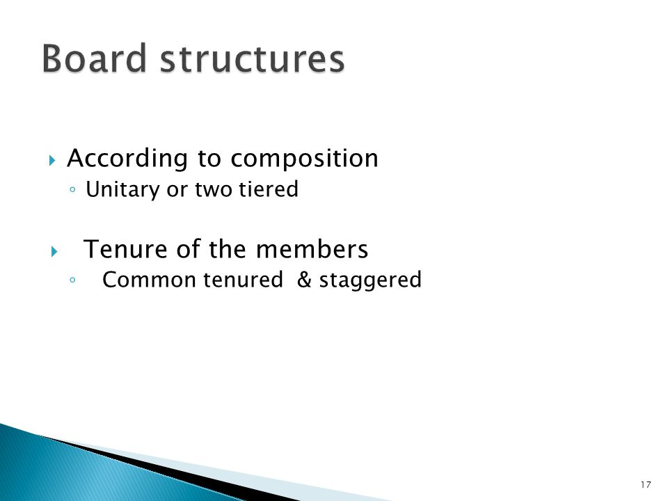 Board structures According to composition Tenure of the members