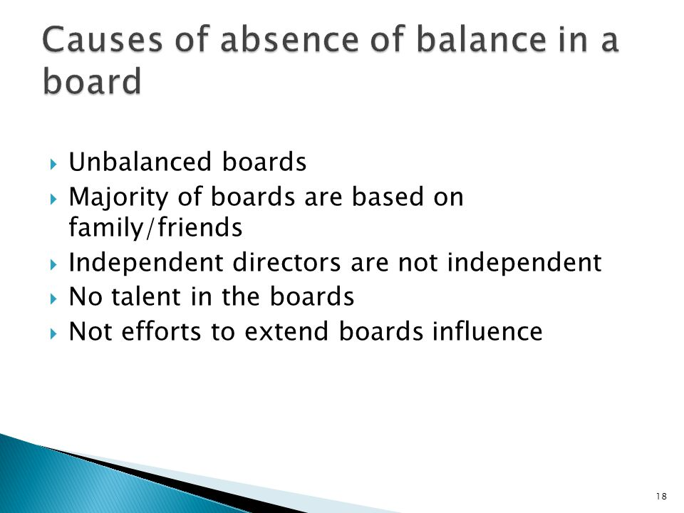 Causes of absence of balance in a board