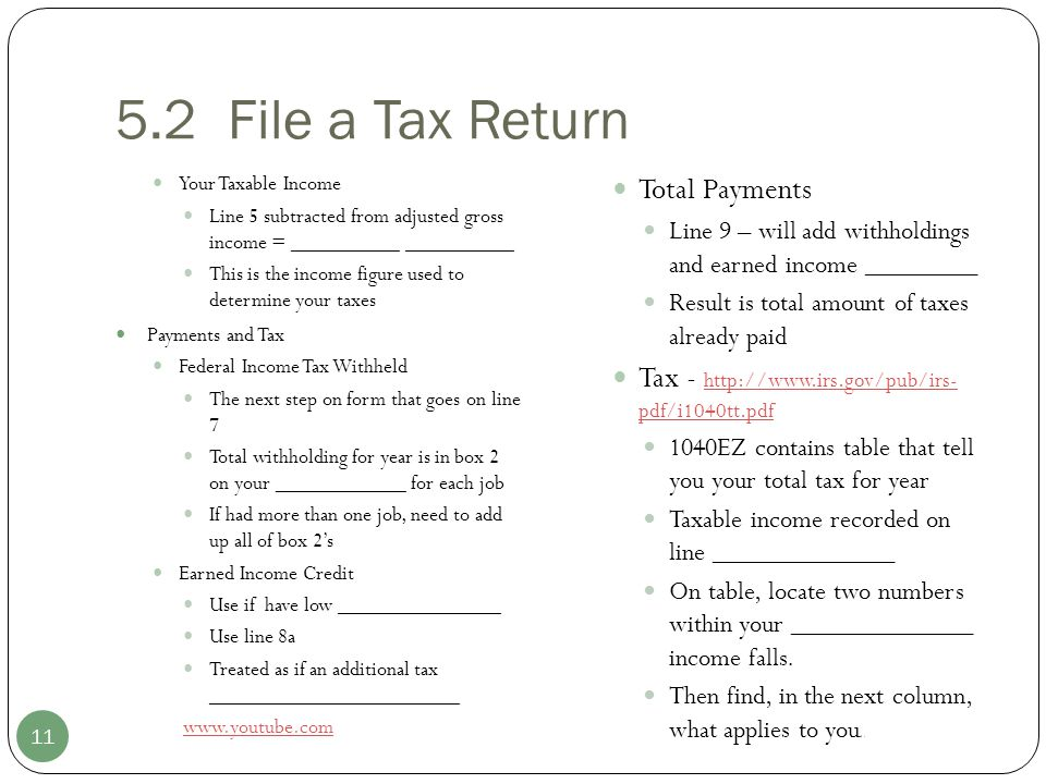 5.2 File a Tax Return Total Payments