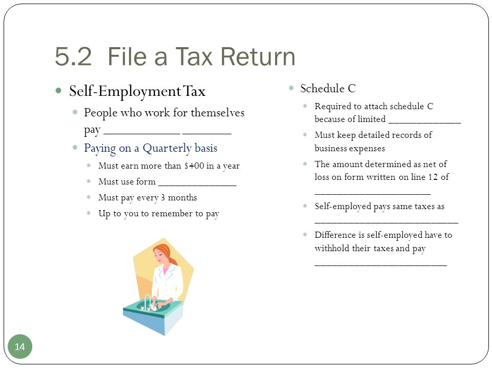 5.2 File a Tax Return Self-Employment Tax Schedule C