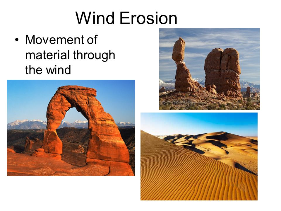 Wind Erosion Movement of material through the wind